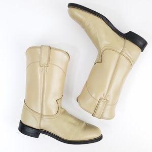 Justin Diamond J Tan Leather Roper Boots
